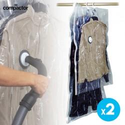 SET DE 2 HANGING VACUUM BAGS CON GANCHO INTEGRADO 145X70 CM + 105X70 CM VALVULA COMPATIBLE CON CUALQUIER ASPIRADORA